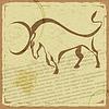 Historische Postkarte mit Silhouette des Büffels