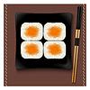 Schwarz quadratische Platte mit Sushi und Stäbchen