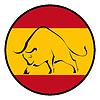 Silhouette der Stier in den nationalen Farben der spanischen
