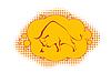 Emblem mit Silhouette des wilder Stier