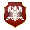 Weiße Silhouette eines Adlers auf rotem Schild