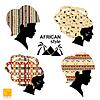 Satz von Silhouetten von Köpfen der afrikanischen Frauen
