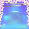 Векторный клипарт: Синий текстура с лепестками фиолетового цветов и гирлянды O