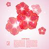 Векторный клипарт: Розовый фон с красными цветами и отражений.