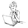 Векторный клипарт: Графический девушка работает на ноутбуке