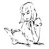 Векторный клипарт: Графический рисунок из Девушка, читающая книгу.
