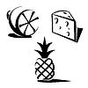 Векторный клипарт: Лимон, ананас и сыр. Иконки