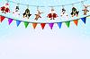 Weihnachten blauen Hintergrund mit Girlande aus Papier