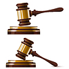 Set bestehend aus zwei Holz Gold Hammer des Richters. . krank