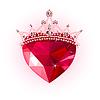 Kristall-Herz mit Krone