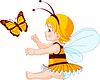 Cute Baby-Fee und Schmetterling