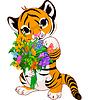 Nette Tiger Cub mit Blumen