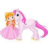 Niedliche Prinzessin und Einhorn