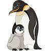 Kaiser-Pinguin mit Küken