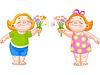 Zwei Babys mit Blumensträußen