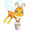 Biene hält Eimer Honig