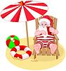 Santa Claus am Strand entspannen