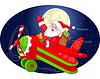 ID 4364892 | Santa is flying in an airplane | 向量插图 | CLIPARTO