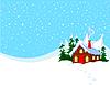 Kleines Haus auf Schneehügel