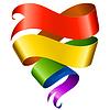 在心脏的形状彩虹丝带 | 向量插图