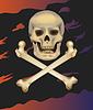 Jolly Roger. Schädel und gekreuzten Knochen.