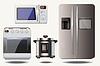Vektor Reihe von Kühlschrank, Mikrowelle, Backofen, Elektro f