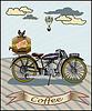 Retro Banner mit einer Tasse Kaffee und Motorrad