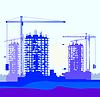 Векторный клипарт: Вектор баннер строительной площадки с кранами