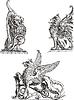 Satz von heraldischen gryphons Stützer