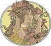 Dekorative runde Jugendstil-Skizze mit jungen Dame
