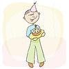 Векторный клипарт: Празднование дня рождения с тортом