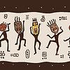 Tanzen Figuren mit afrikanischen Masken