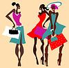 Beautiful Retro Fashion women set | Stock Vector Graphics
