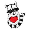 Waschbär mit einem Herzens | Stock Vektrografik