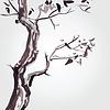 Векторный клипарт: Старое дерево в китайском стиле