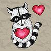 Векторный клипарт: Енот с сердечком