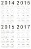 Satz europäischer 2014 2015 2016 2017 Kalender