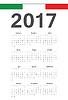 Włoska 2017 rok kalendarzowy | Stock Vector Graphics