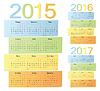 Zestaw rosyjskiego 2015, 2016, 2017 kolorowych kalendarzy   Stock Vector Graphics
