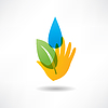 Öko-Konzept Hand und Wasser Symbol