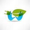 Umwelt Buchse blau Hand-Symbol
