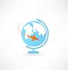 Globe und Flugzeug-Symbol