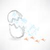 Brechen Ei mit Vogel Fußspuren Grunge-Ikone