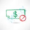 verbieten, Papier-Dollar-Grunge-Ikone