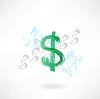 Dollar-Zeichen Fußabdruck Grunge-Ikone