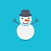 Schneemann auf blauem Hintergrund