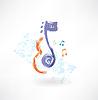 Kontur Violine und Noten Grunge-Ikone