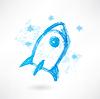 Blau Grunge-Rakete Symbol