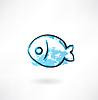 Einfache Fisch-Grunge-Ikone