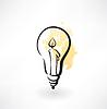 Glühbirne mit Kerze im Inneren Grunge-Ikone
